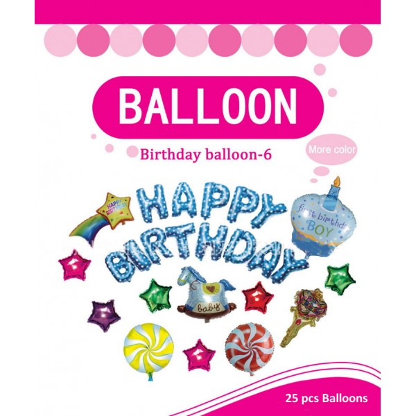 Birthday Balloons - Happy Birthday Decoration Foil Balloons Boy Set ~ 25pcs