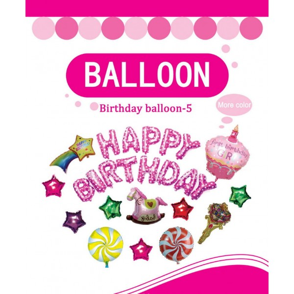 Birthday Balloons - Happy Birthday Decoration Foil Balloons Girl Set ~ 25pcs