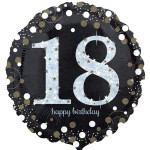 Anagram 18 inch Black and Gold Sparkling Birthday Age 18