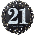 Anagram 18 inch Black and Gold Sparkling Birthday Age 21