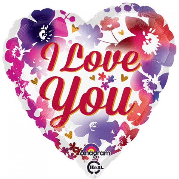 Anagram 18 Inch I Love You Watercolor Flower Heart Balloon