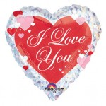 Anagram 18 inch I love you Script With Hearts Prismatic