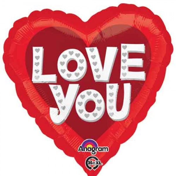 Love & Affection - Anagram 18 Inch Love You Silver Hearts Balloon