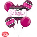 Anagram Pink, Black, White Birthday Balloon Bouquet ~ 5pcs