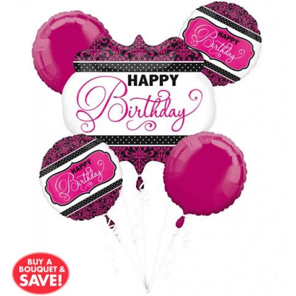 Balloon Bouquet Pack - Anagram Pink, Black, White Birthday Balloon Bouquet ~ 5pcs