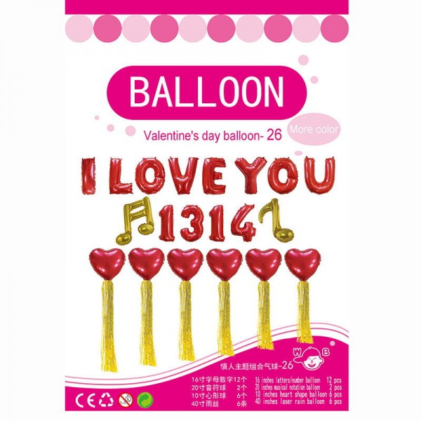 Love & Affection - 16 Inch Valentine's Balloon I Love You 1314 Hearts Set ~ 20pcs