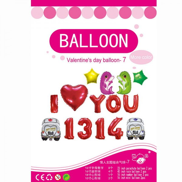 Love & Affection - 16 Inch Valentine's Balloon I Love You 1314 Dolphin Set