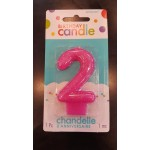 Amscan 2 Glitter Number Molded Birthday Candle Pink