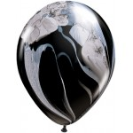 Qualatex 11 inch Black And White Superagate Latex Balloon ~ 10pcs