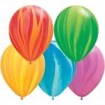 Qualatex 11 inch Assorted Rainbow SuperAgate Latex Balloon ~ 10pcs