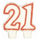 Amscan Birthday Candle 21 With Gliter - Red