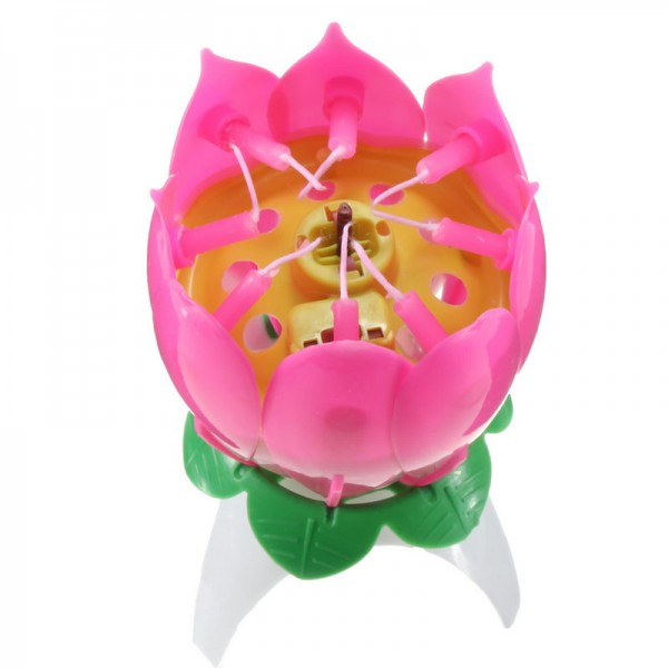 Magic Spinning And Singing Louts Flower Birthday Candle