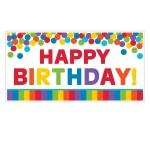 Amscan Primary Rainbow Happy Birthday Giant Party Sign 85 x 165 cm