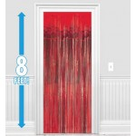 Amscan Dazzling Foil Metallic Decoration Curtain 8ft x 3ftb ~ Red
