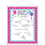Purple & Teal Pastel Birthday Sign-In Sheet 19 x 24 inch