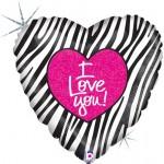 Betallic 18 inch I Love You Zebra Stripes Holographic