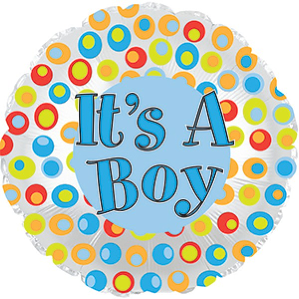 Children Balloons - CTI 17 inch It's a Boy Colorful Dots