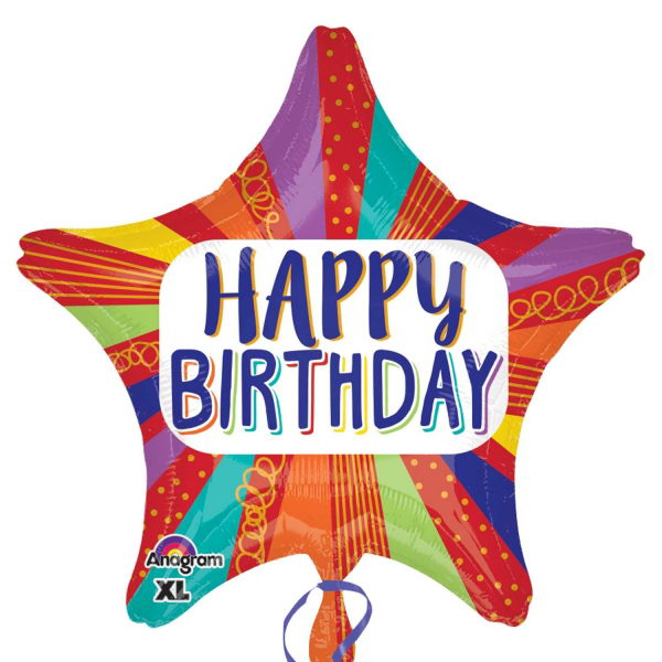 Birthday Balloons - Anagram 19 inch Happy Birthday Striped Star