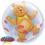 Qualatex 24 inch Love Hearts & Bear Double Bubbles