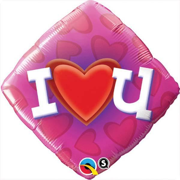 Love & Affection - Qualatex 18 inch Diamond Foil Love Heart U