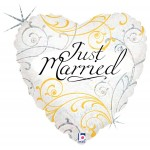 Betallic 18 inch Just Married Filigree Heart