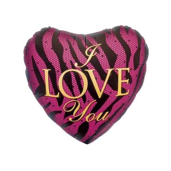Love & Affection - Northstar 18 inch I Love You Pink Zebra