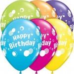 Qualatex 11 inch Happy Birthday Polka Dots Tropical Assortment ~ 10 pcs