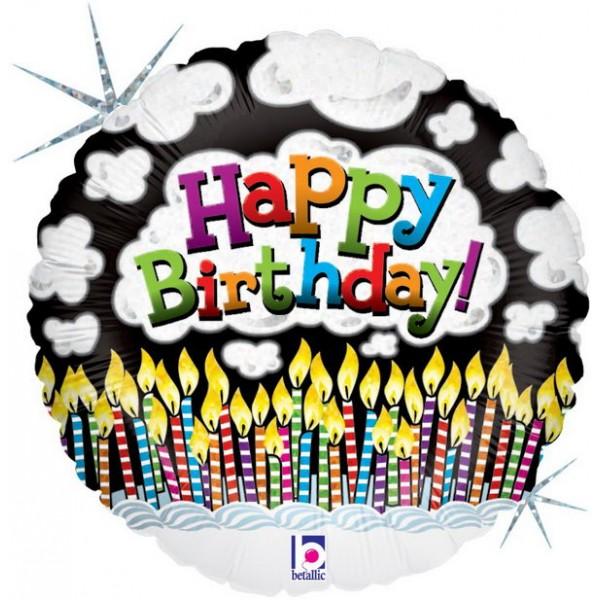 Birthday Balloons - Betallic 18 Inch HBD Candles With Smoke Balloon