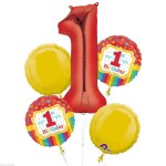 Anagram Rainbow 1st Birthday Foil Balloon Bouquet ~ 5pcs