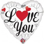 Anagram 17 inch Love You Red & Black