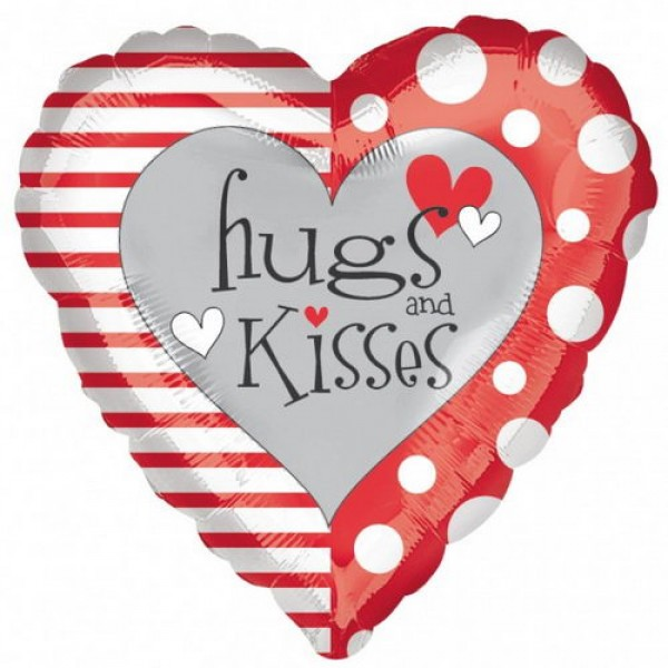 Love & Affection - Anagram 17 inch Red & White Hugs & Kisses