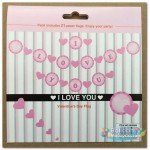 I Love You Pink Color Round Letter Banner