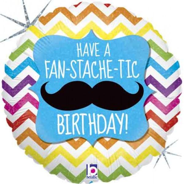 Birthday Balloons - Betallic 18 inch Fan-STACHE-tic Birthday