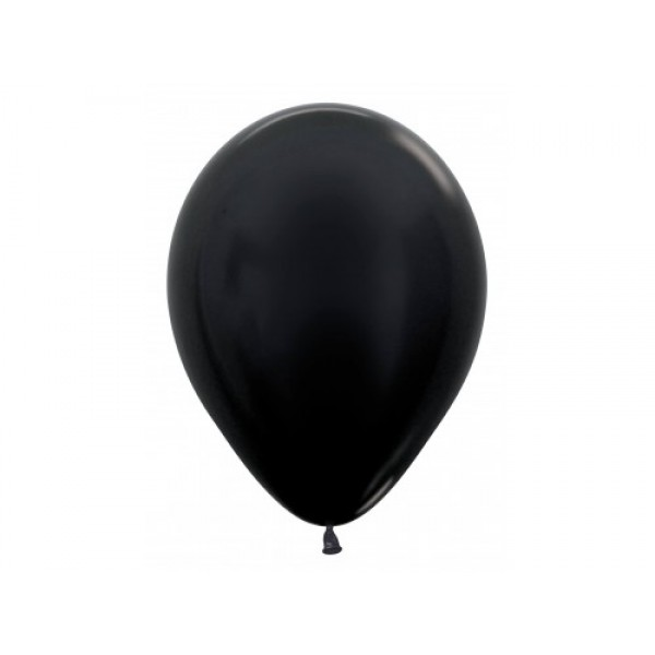 "Sempertex 12"" Inch Metallic Black Round Balloon 580 ~ 100pcs"