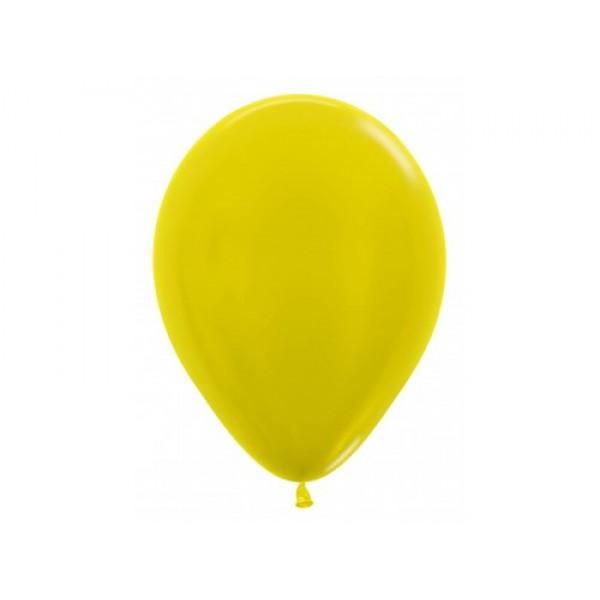 "Sempertex 12"" Inch Metallic Yellow Round Balloon 520 ~ 100pcs"