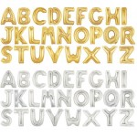 16 Inch Betallic Gold Silver Letter Foil Balloons A-Z