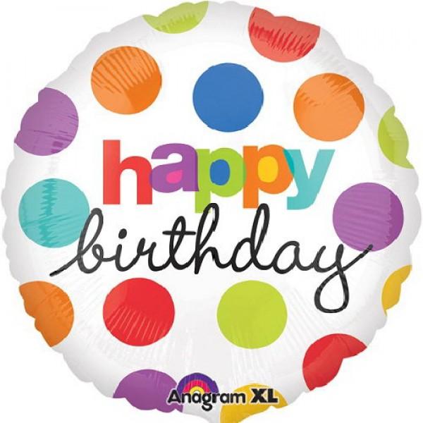 Birthday Balloons - Anagram 17 inch Polka Dot Birthday