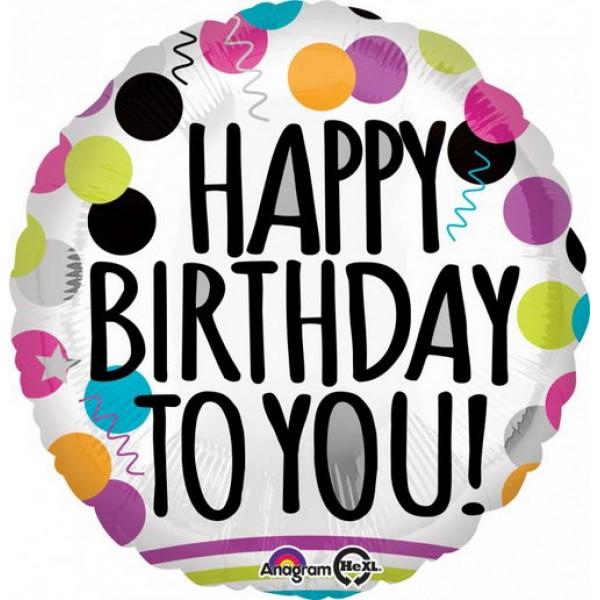 Birthday Balloons - Anagram 17 inch Black & White HBD