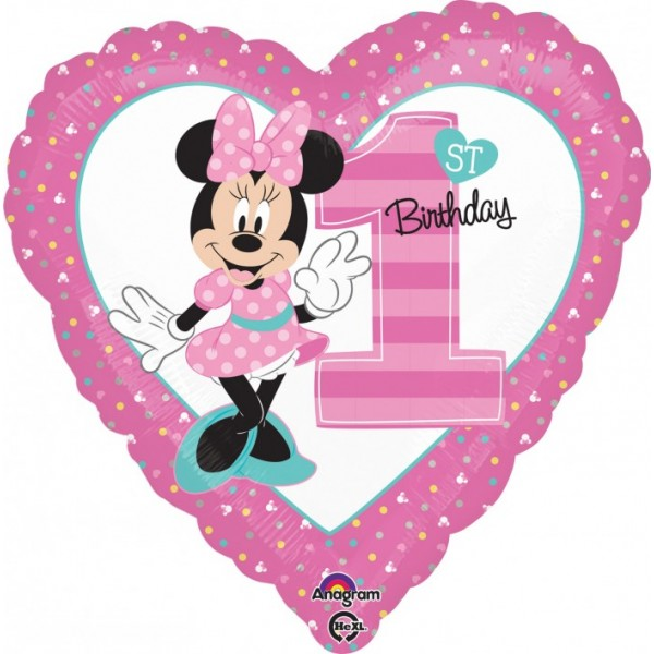 Character Balloons - Anagram 17 inch Minnie 1st Birthday