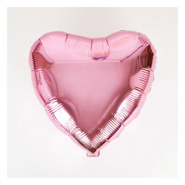 "18"" Inch Heart Shape Plain Pink Foil Balloon"