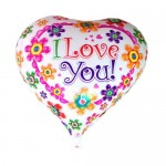 "Mytex 18"" Inch I Love You Heart Shape Colorful  Flowers Balloon"