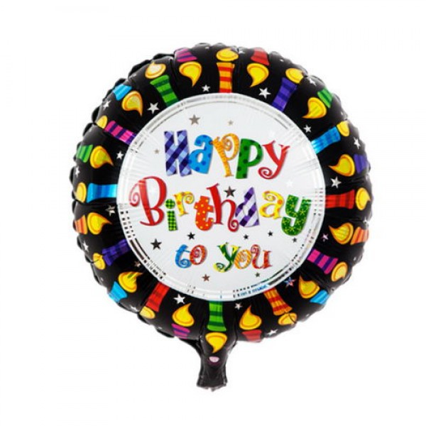 Birthday Balloons - Mytex 17 Inch Happy Birthday To You Candles Edge Balloon