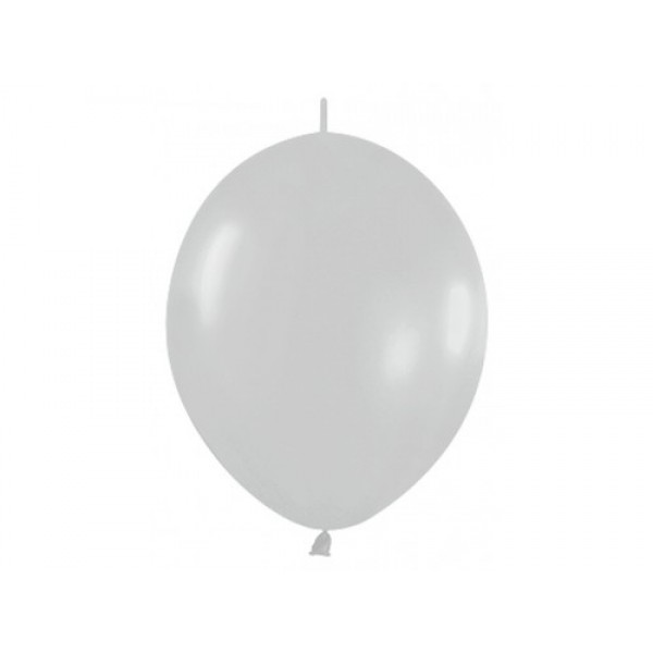 "Sempertex 12"" Inch Link-O-Loon Silver Balloon 481  ~ 100pcs"