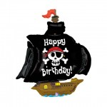 "Betallic 46"" Inch Pirate Ship Happy Birthday Supershape Balloon"