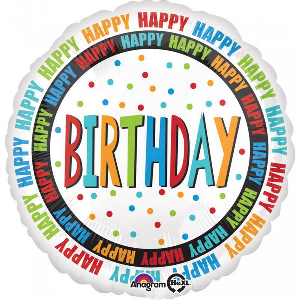 Birthday Balloons - Anagram 18 Inch Happy Birthday Circles Balloon