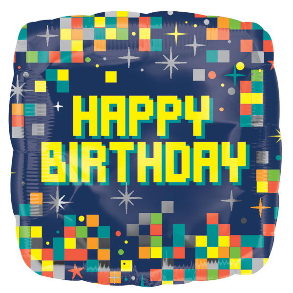 Birthday Balloons - Anagram Minecraft Birthday Pixels 18 Inch Square Balloon