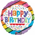 Anagram 18 Inch HBD Bright Stripes Balloon