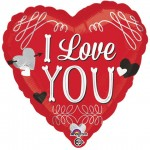 Anagram 17 Inch I Love You Squiggles Foil Balloon