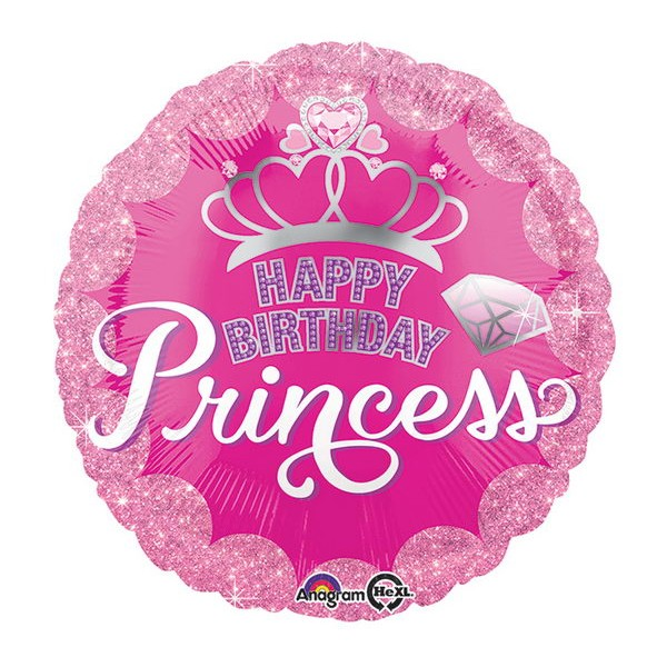 Birthday Balloons - Anagram 17 inch Princess Crown & Gem HBD