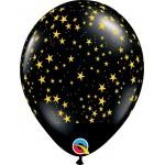 Qualatex 11 Inch Onyx Black Gold Stars-A-Round balloon ~ 10pcs